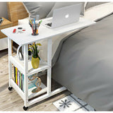 Sofa Bed Side Table Laptop Desk with Holder - White