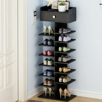 8-tier Shoe Rack with Top Drawer- Black/White/Oak
