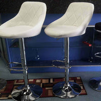 2x High Back Leather Bar Stools - White