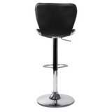 Set of 2 PU Leather Kitchen Bar Stools Black
