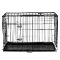 42 Inch Collapsible Pet Cage with Cover - Black & Green