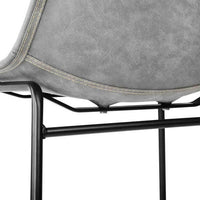 2x Leather Padded Steel Leg Dining Chairs - Grey