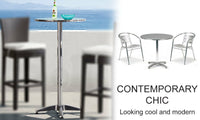 Foldable Round Bar Table with Adjustable Height
