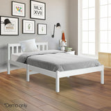 Pine Wood Single Size Bed Frame - White