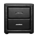 PVC Leather Bedside Table - Black