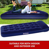 Bestway Single Inflatable Air Bed with Foot Pump - Blue