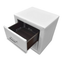 Modern Leather Bedside Table with 2 Drawers - White