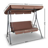 3-Seater Outdoor Canopy Swing Chair - Coffee