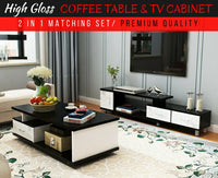 2-piece High Gloss TV Cabinet