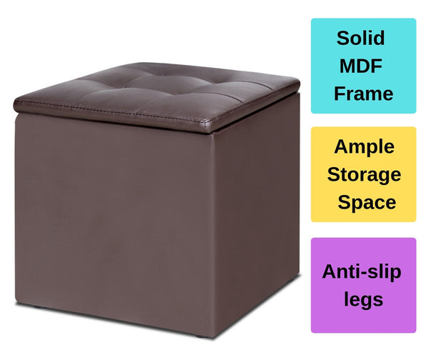 PU Leather Ottoman Storage Box Chest