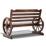Wooden Wagon Wheel  Bench - Brown