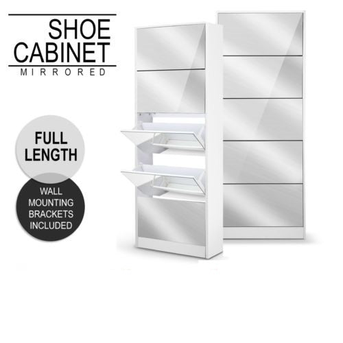 Mirrored Shoe Cabinet Storage