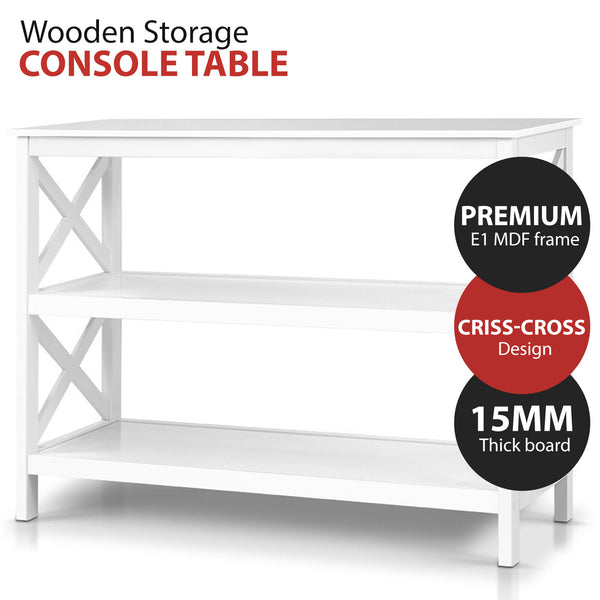 White Wooden Storage Console Table
