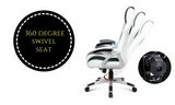 PU Leather Racing Style Office Chair Black and White