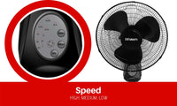 40cm Wall Mountable Fan - Black