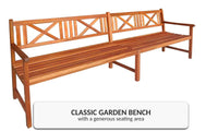 Garden Bench Solid Acacia Wood - 4 Seater
