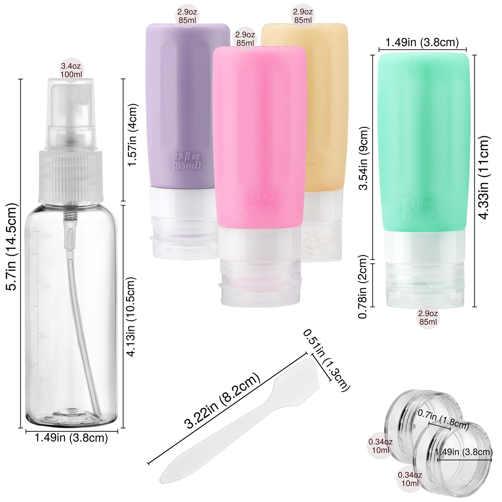 FiveSeasonStuff TSA Approved Silicone Leak Proof Travel Squeeze Bottles and Travel Spray Bottle with TSA Toiletry Bag (7 Pack) Warm Pastel Cheerful (Purple, Pink, Aqua Green & Apricot)