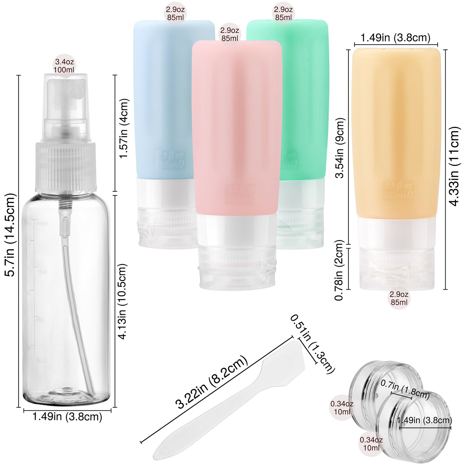 FiveSeasonStuff TSA Approved Silicone Leak Proof Travel Squeeze Bottles and Travel Spray Bottle with TSA Toiletry Bag (7 Pack) CheerfulSunny Pastel (Dusty Blue, Dusty Pink, Aqua Green & Apricot)