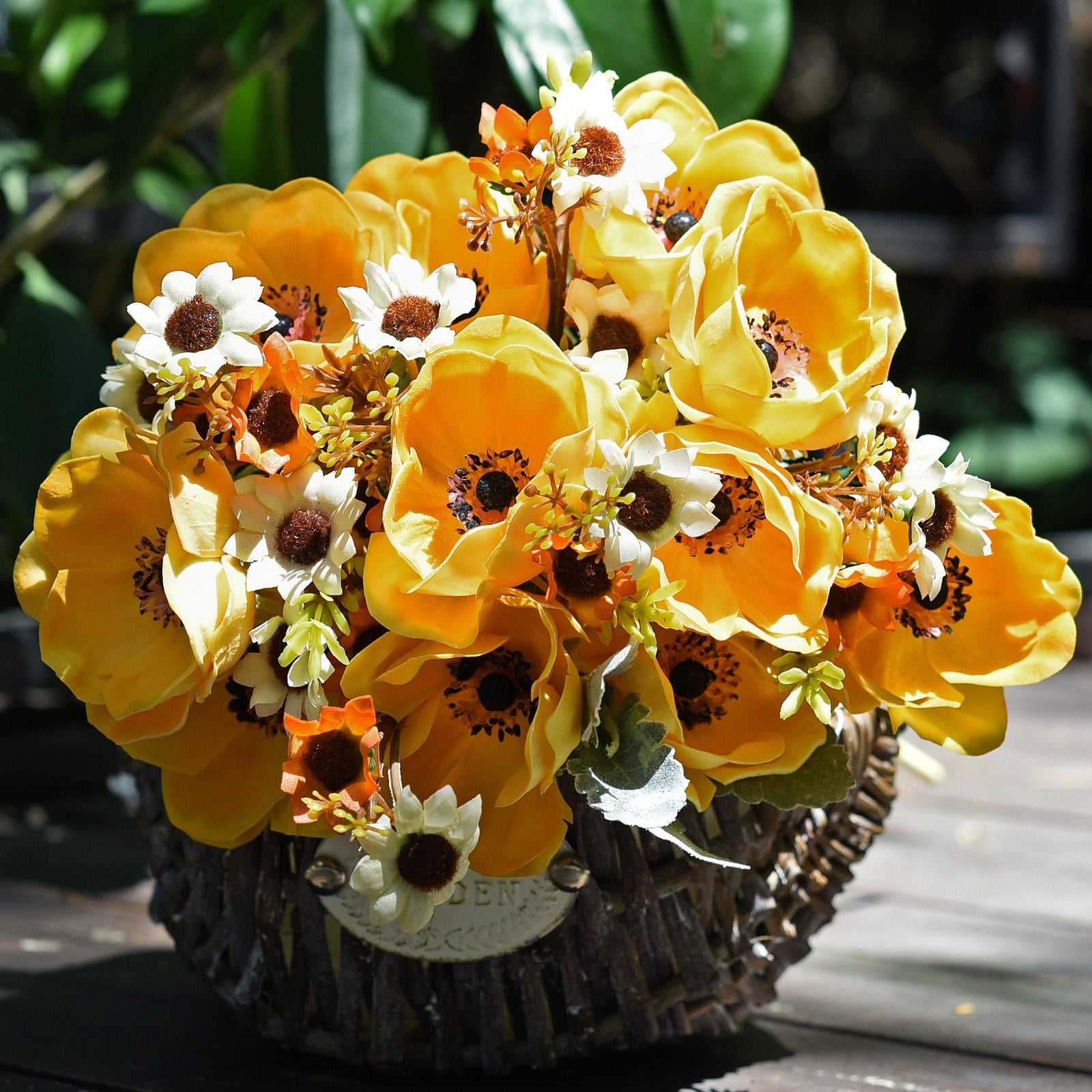 12 Long Stems of 'Real Touch' Artificial (Orange) Anemone Flowers, Wedding Bouquet Flower Arrangement, 45cm (17.7 inches)