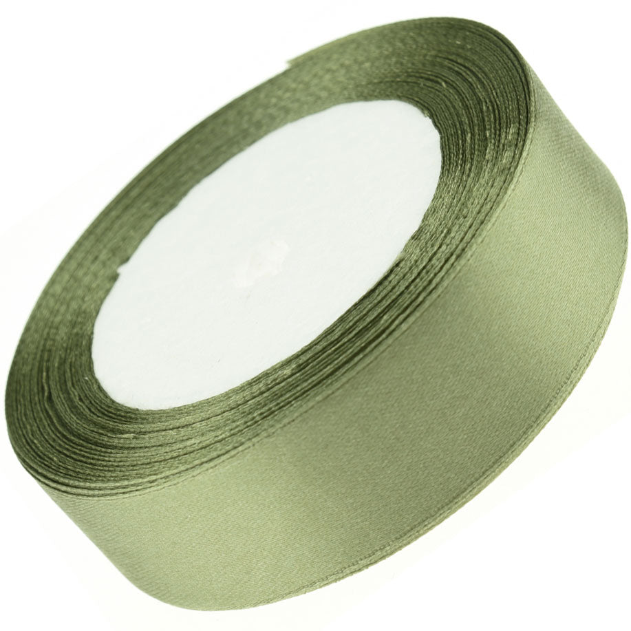 25mm Olive Green Single Sided Satin Ribbon
