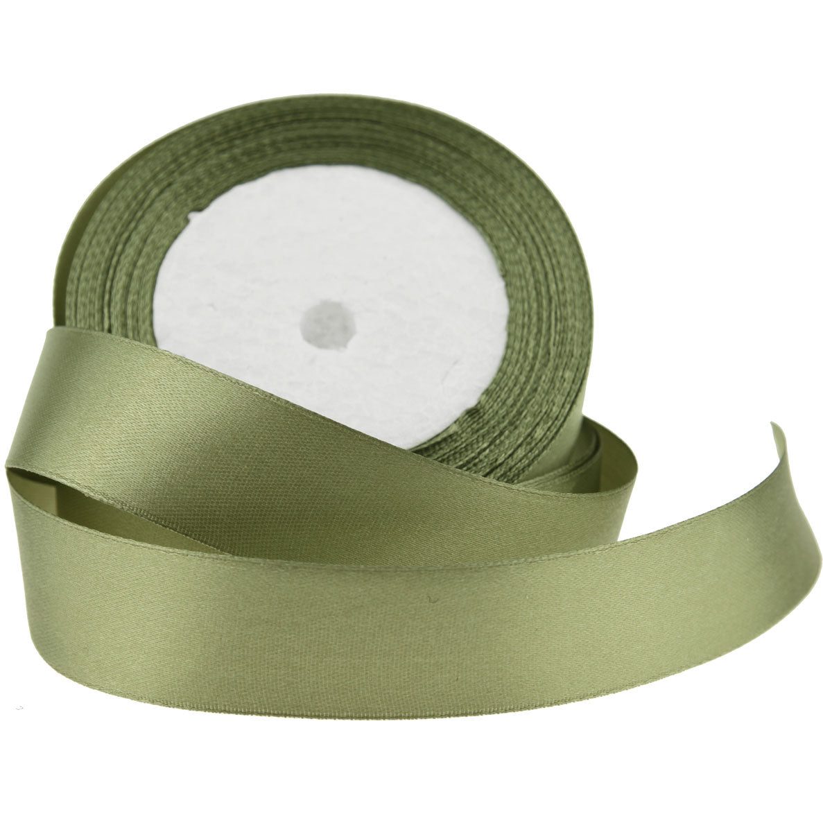20mm Olive Green Single Sided Satin Ribbon