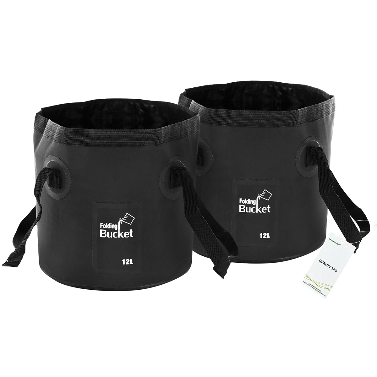 Two standing black foldable buckets with handles display with a white background
