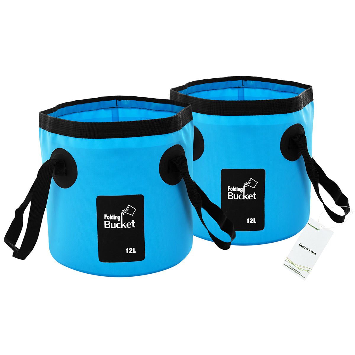 Two standing blue collapsible buckets with handles display with a white background