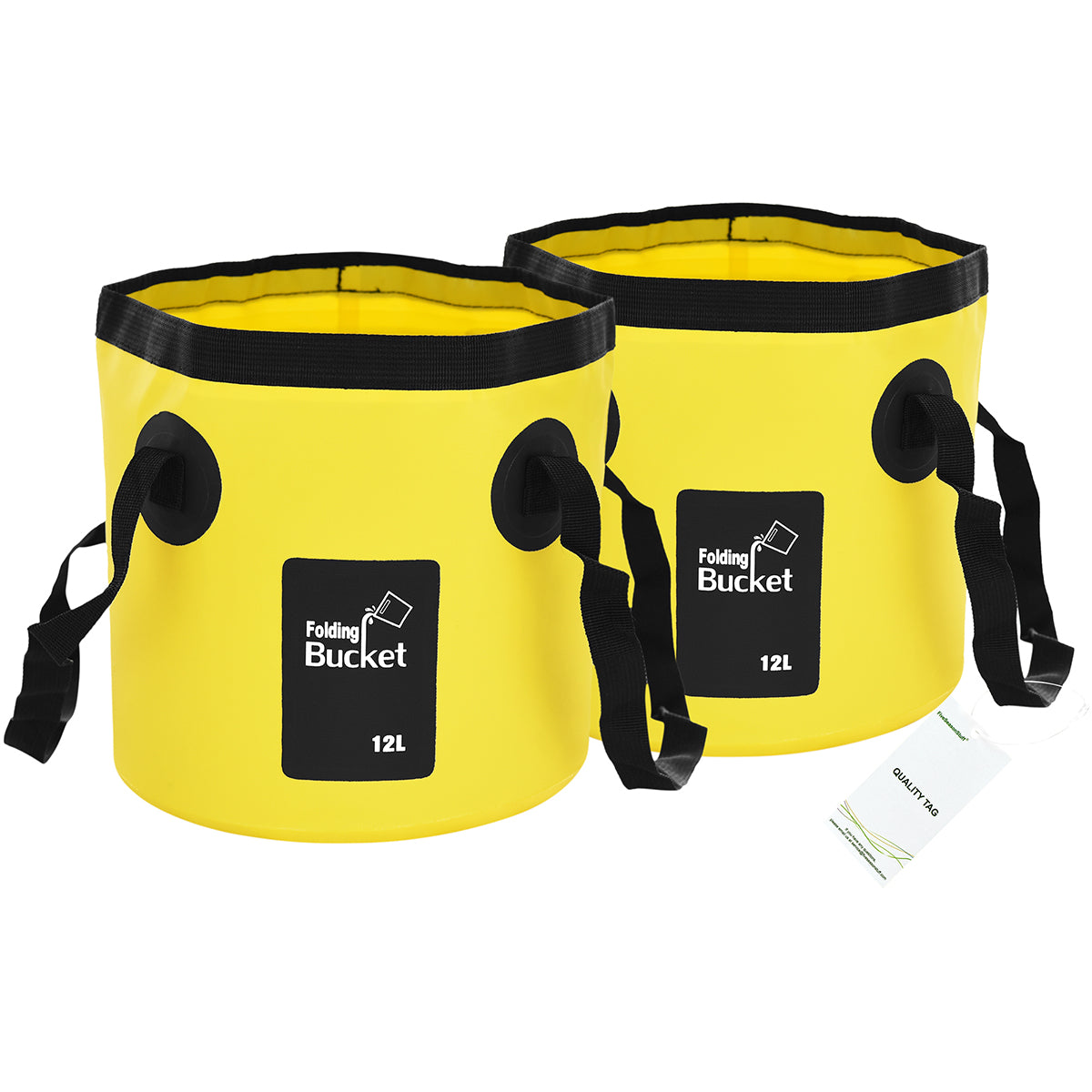Two standing yellow collapsible buckets with handles display with a white background
