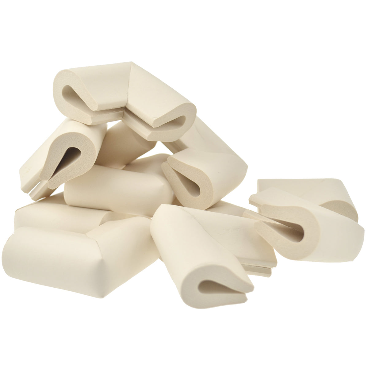 12 pieces randomly placed beige u-shaped foam corner protectors show with a white background.