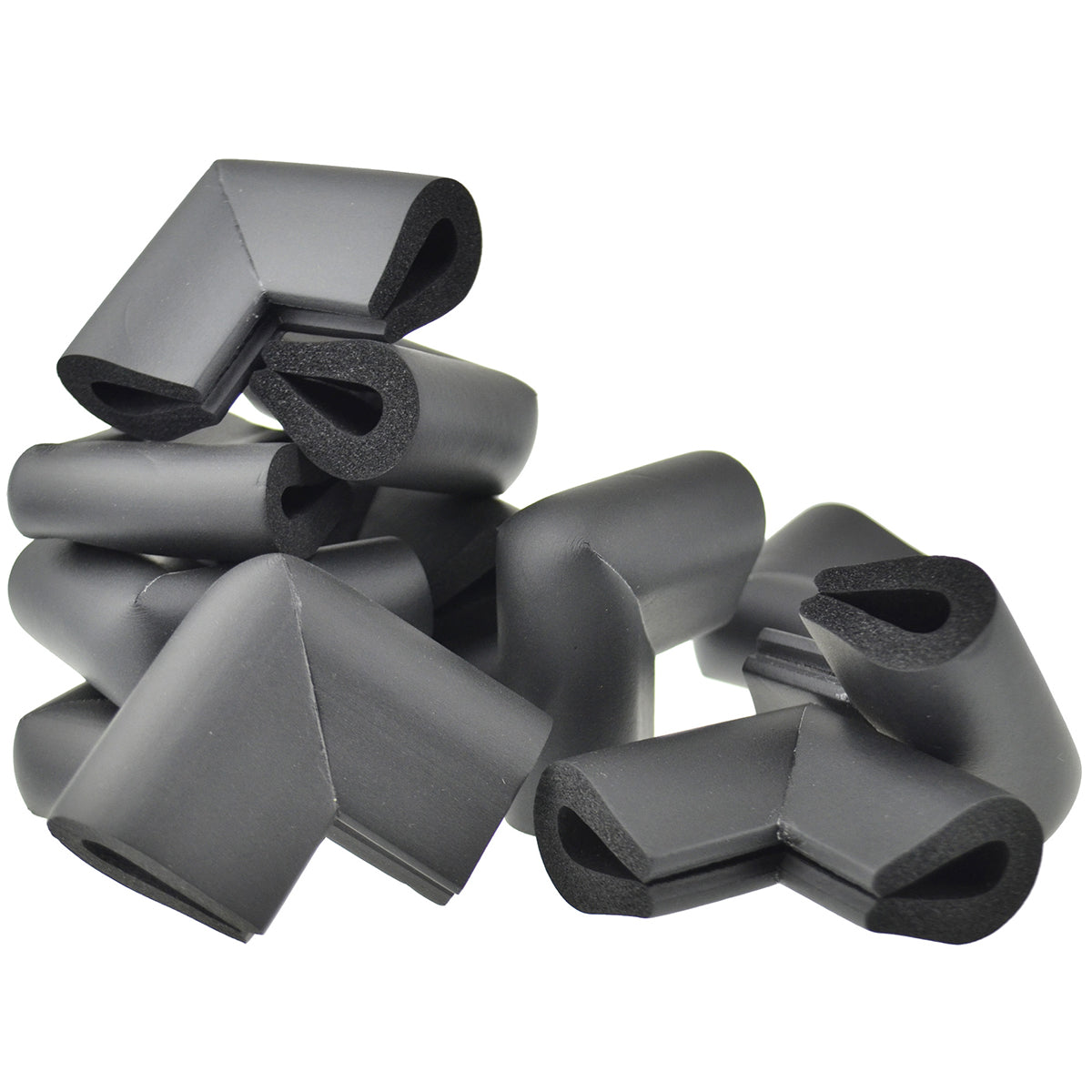 12 pieces black u-shaped foam corner protectors show with a white background.