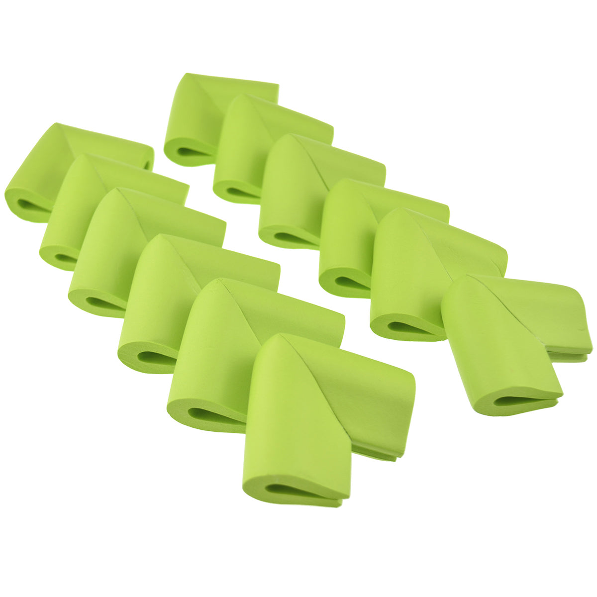 2 rows of 6 pieces green u-shaped form corner protector neatly placed with corner upward show with a white background