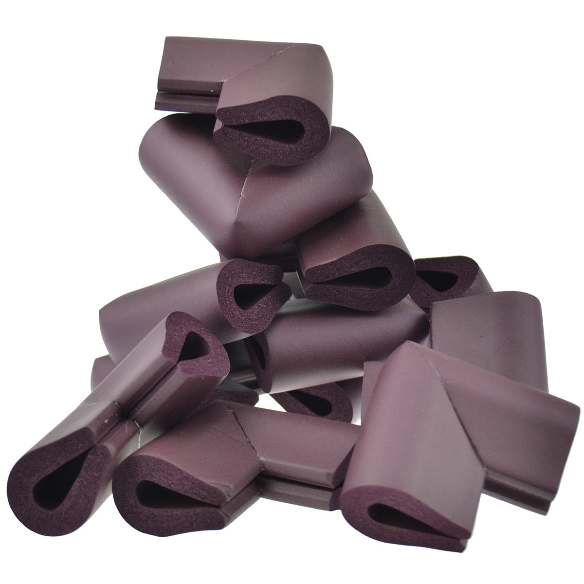 12 pieces randomly placed maroon u-shaped foam corner protectors show with a white background.