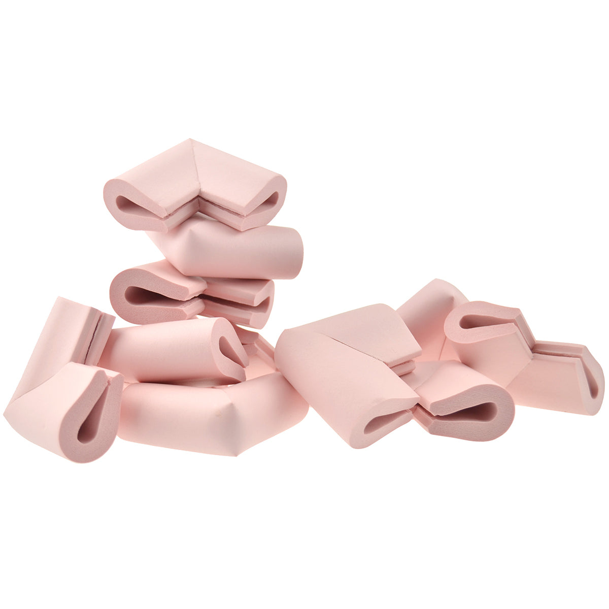 12 pieces randomly placed pink u-shaped foam corner protectors show with a white background.