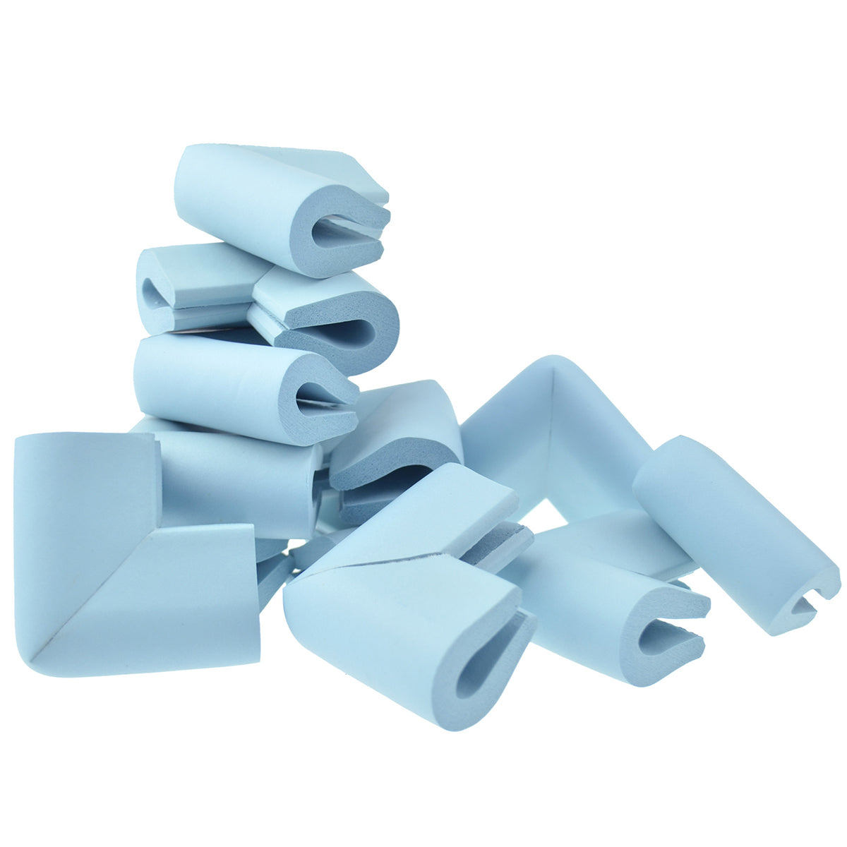 12 pieces skyblue u-shaped foam corner protectors show with a white background.
