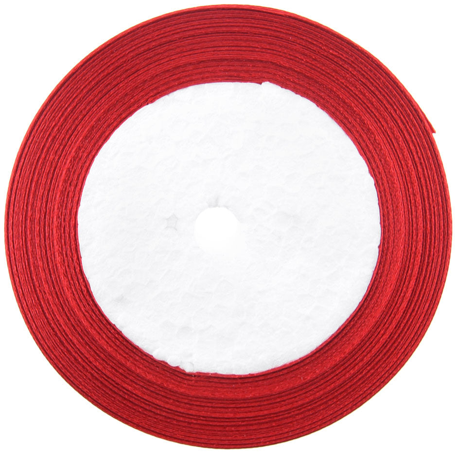 10mm Red Single Sided Satin Ribbon