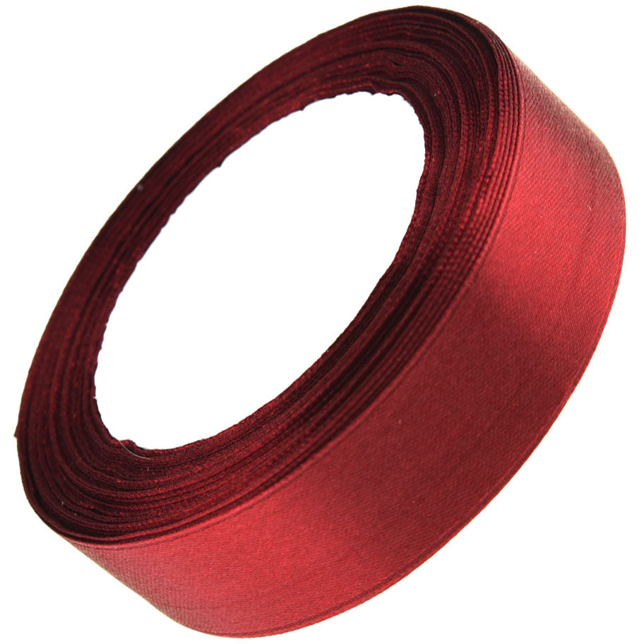 25mm Red Wine Single Sided Satin Ribbon