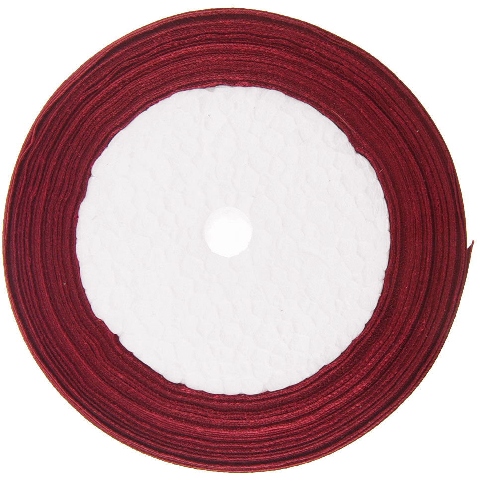 20mm Red Wine Single Sided Satin Ribbon