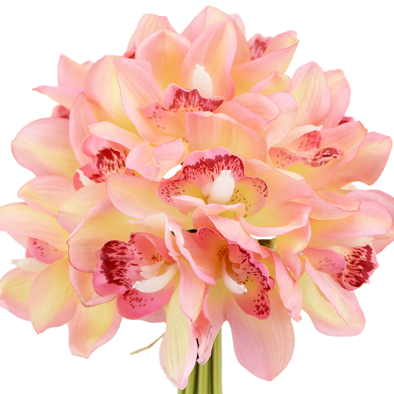12 Stems Artificial Real Touch Pink Cymbidium Flowers & Bouquet 9.1 Inches (23cm)