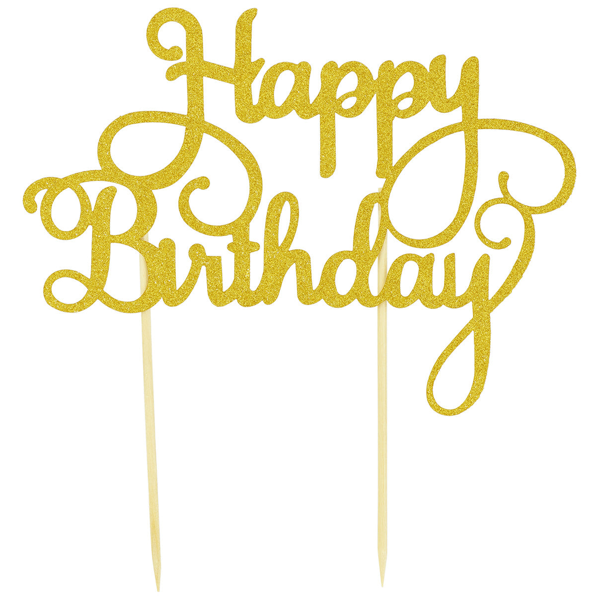 Glitter Gold 'Happy Birthday' Cake Topper with Two Sticks