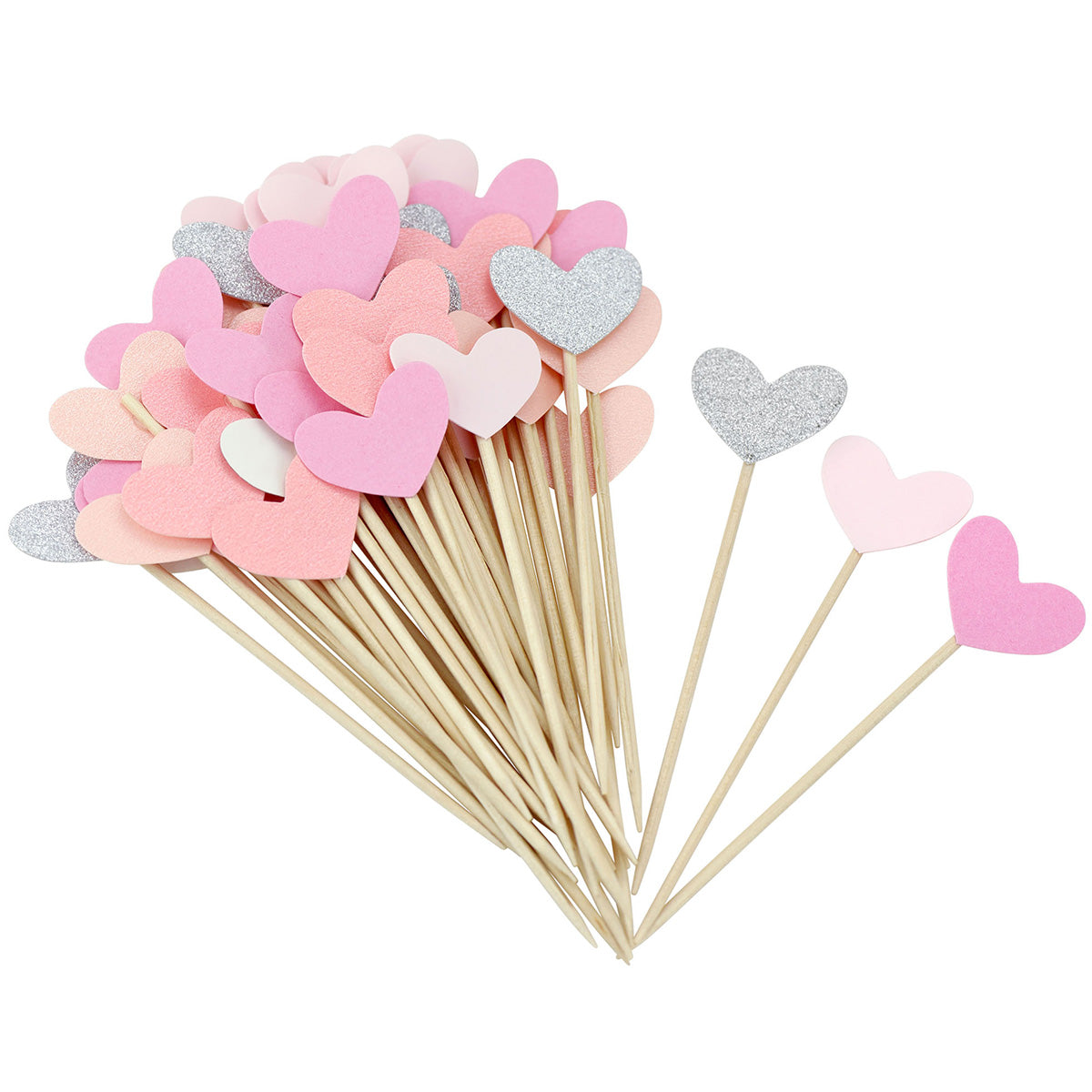 Pink Hearts Topper Picks 50 Pieces