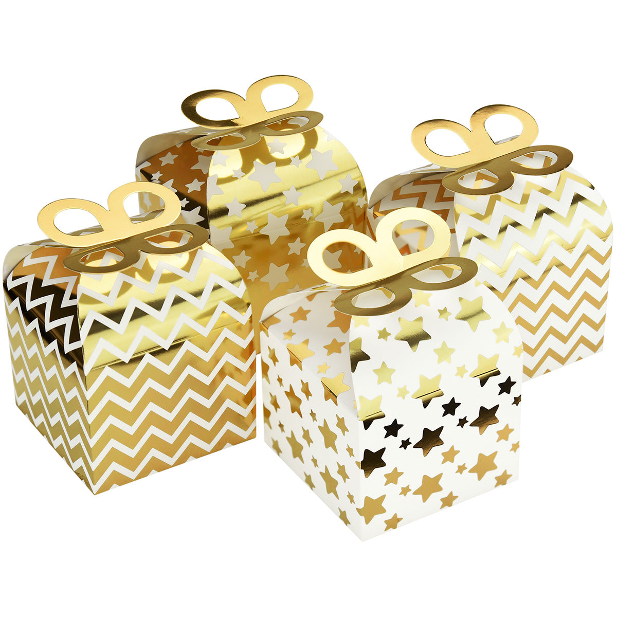 Gold & White Stars /Zigzag Patterns Gift Boxes 12 Pieces