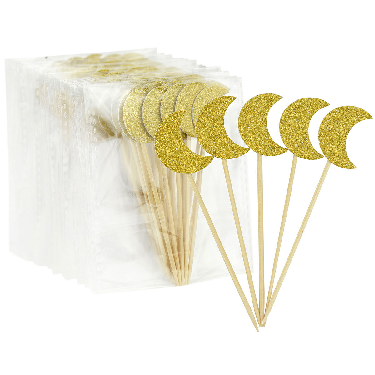 Gold Glitter Moon Cake Toppers 50 Pcs