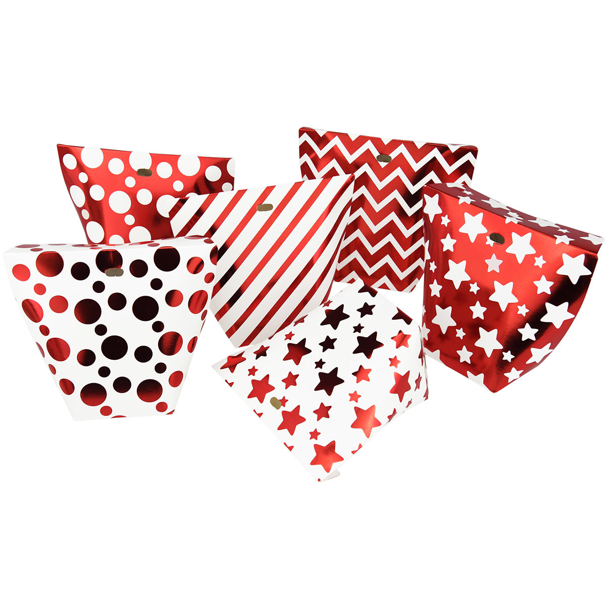 Red & Whites Gift Boxes with 6 Designs 12 Pieces