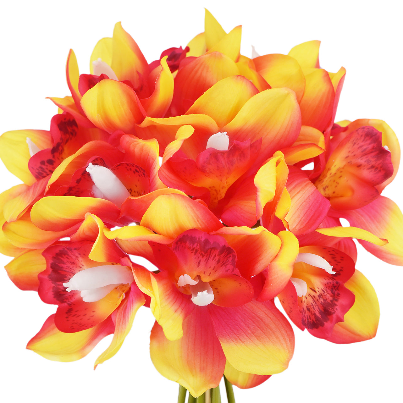 12 Stems Artificial Real Touch Sunset Red Cymbidium Flowers & Bouquet 9.1 Inches (23cm)