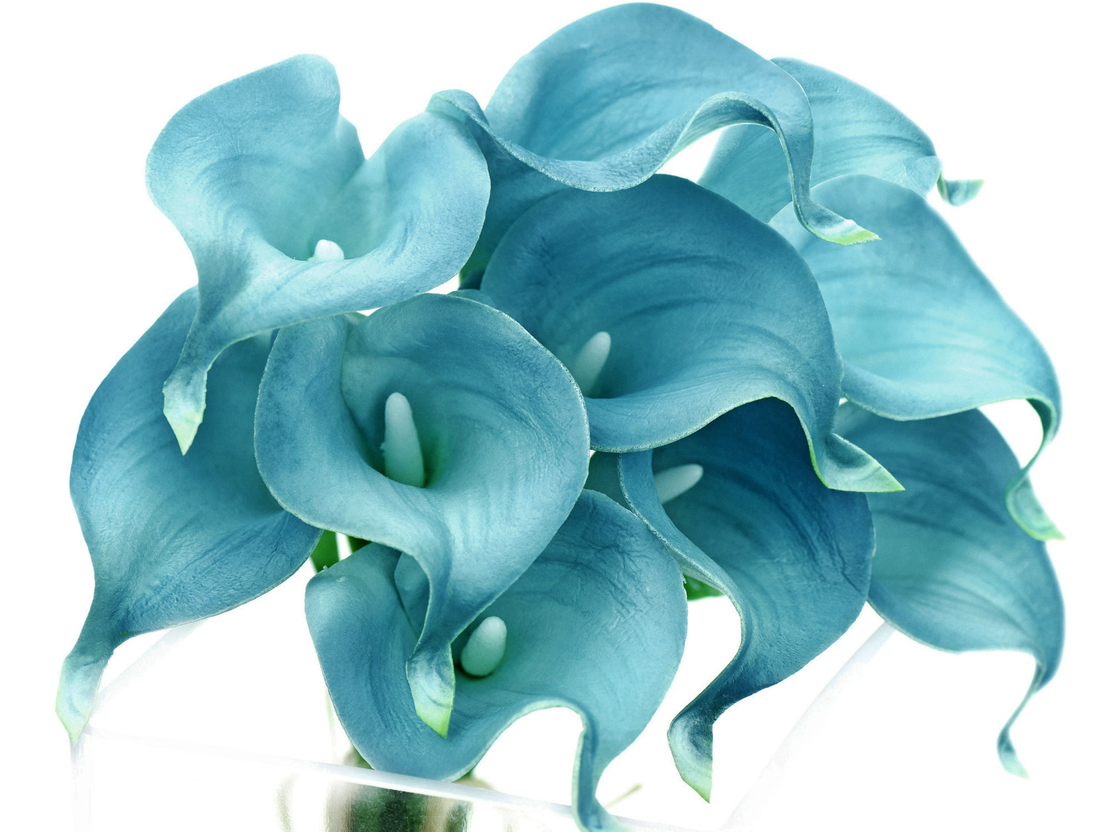 Real Touch Calla Lilies Artificial Flower Bouquet 10 Stems (Arctic Blue)