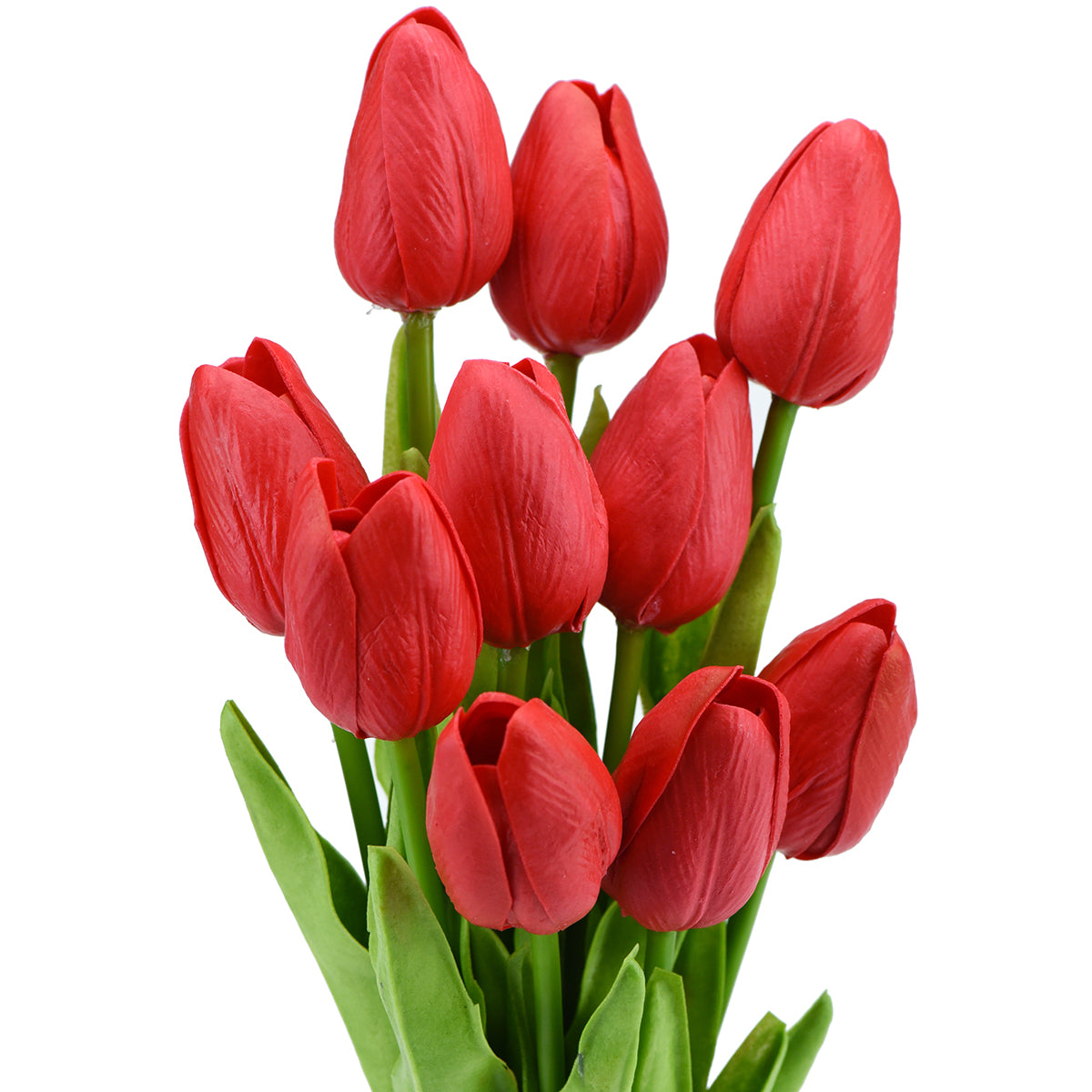 Vivid Red Real Touch Tulips Artificial Flowers Bouquet 10 Stems