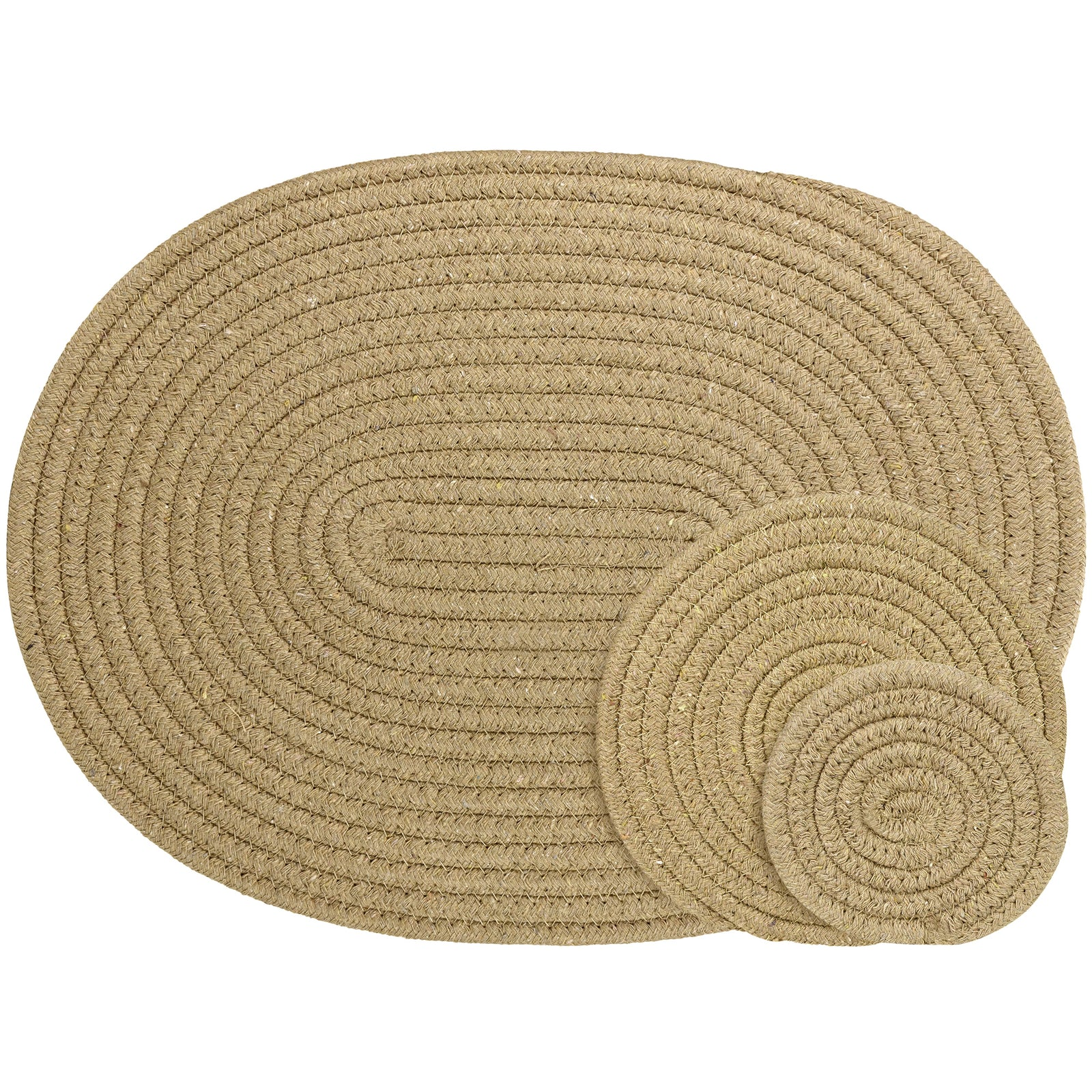 Brown Woven Cotton Placemat and Coaster Set