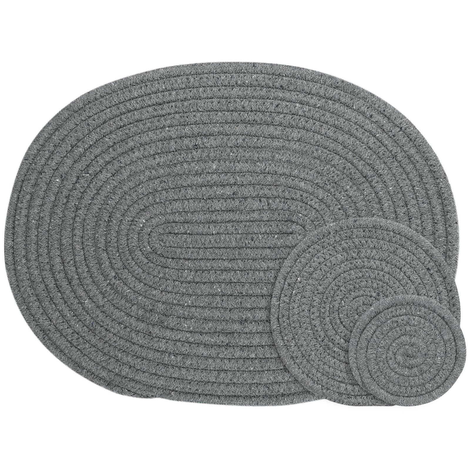 Dark Gray Woven Cotton Placemat and Coaster Set