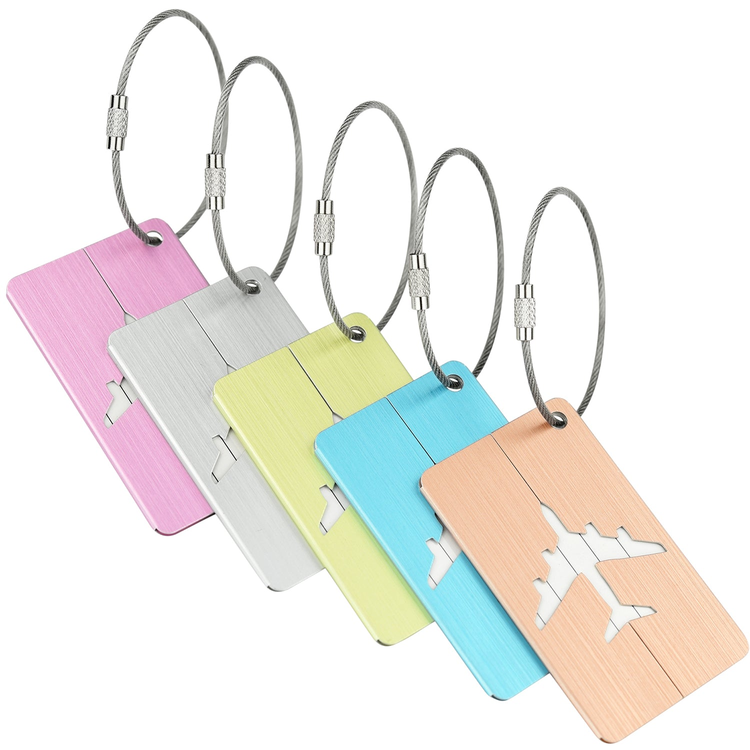 5 Mixed Color Hollow Airplane Pattern Aluminum Luggage Tags
