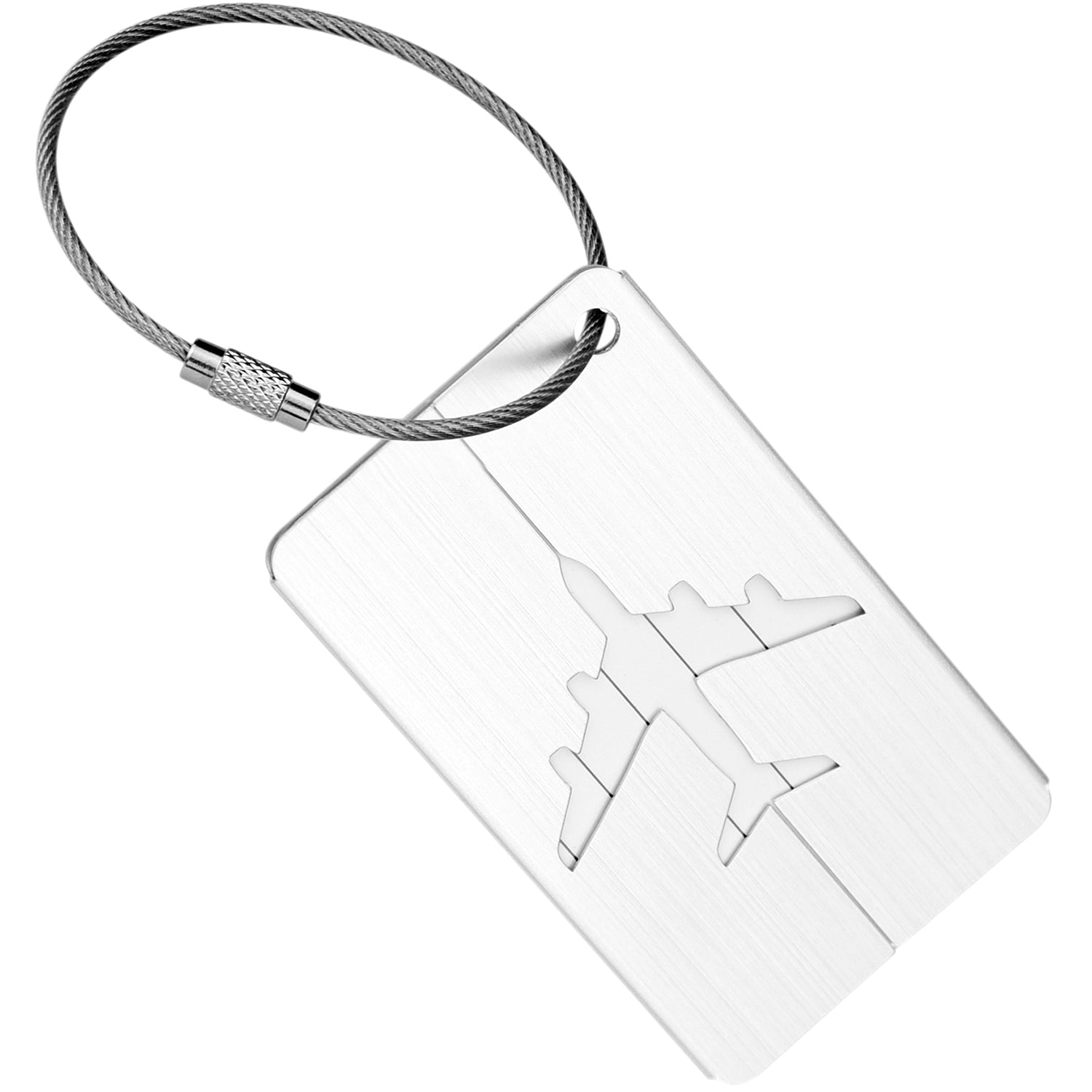 6 Silver Hollow Airplane Pattern Aluminum Luggage Tags